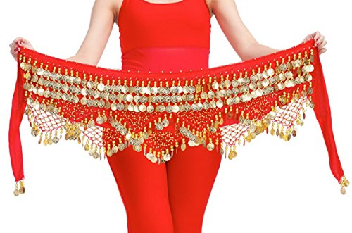 Aivtalk Women Belly Dance Coin Belt Tribal Hip Scarf Velvet Belly Dance Skirt Sequins Belt Accessories - Skirt Dancer