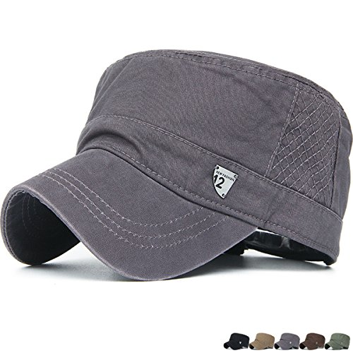 Rayna Fashion Unisex Adult Cadet Caps Military Hats Metal Triangle Logo Gray