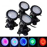 Teepao 4PCS Underwater Pond Light, Pond Led Lights,Fish Pond Lights - Waterproof Changing Spot Light Aquarium Garden Pond Pool Tank Fountain Waterfall