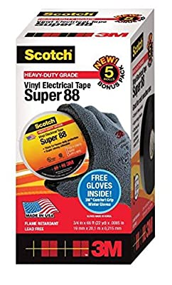 3M EMD SUPER88-KIT Scotch Vinyl Electrical Tape Super 88 5-Pack with Bonus 3M Comfort Grip Winter Gloves (Pack of 6)