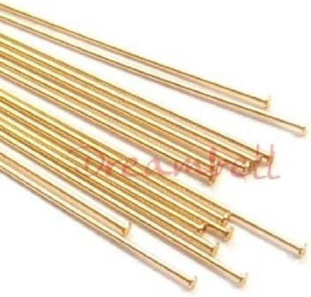 Findings//Yellow gold 10 pcs 14k Gold Filled Headpins 1.2mm Head Pins 26ga 26 Gauge 1.5