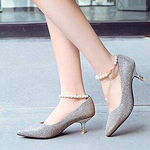 Easemax Womens Elegante Glitter Cinturino Con Fibbia Alla Caviglia Perline Catene Scarpe Col Tacco Medio Gattino Argento