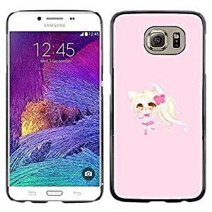 Design for Girls Plastic Cover Case FOR Samsung Galaxy S6 Blonde Anume Character Cat Ears Girl OBBA