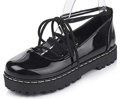 Easemax Womens Trendy Low Chunky Heels Platform Self Tie Pumps Shoes Black