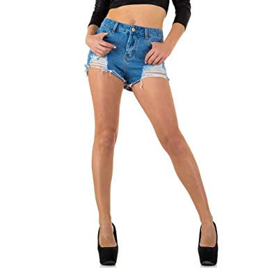 83320867e8343b Ital-Design High Waist Hot Pants Jeans Shorts Für Damen: Amazon.de:  Bekleidung