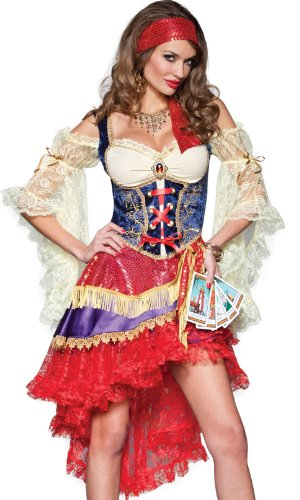 InCharacter Costumes Good Fortune Gypsy Costume, Red/Tan/Blue, X-Small