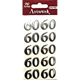 Number Sixty Craft Embellishment Birthday Or Anniversary Card Topper Scrapbooking Stickers by Artoz Artwork