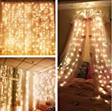 Curtain String Lights,Ollny 300 LED Window Curtain Icicle Starry Lights for Christmas Wedding Party Backdrops Home Outdoor Decorative Lights 3m x 3m(Warm White Low Voltage)