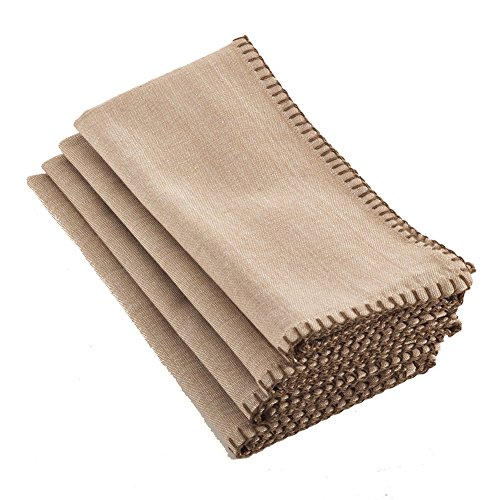 Occasion Gallery Natural Color Whip Stitched Boarder Design Dinner Napkins, 20