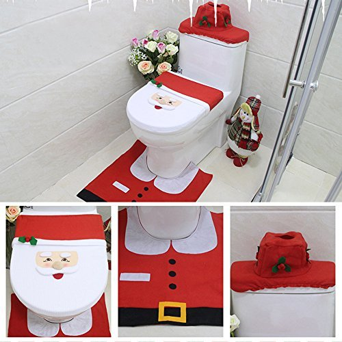TTLIFE Toilet Seat Cover Set Santa Claus Pattern 3-pcs for Christmas Decorations with Toilet Lid Cover & Tissue Box Cover & Rug Set for Bathroom-Cchristmas Promotion -Only last 4 days )