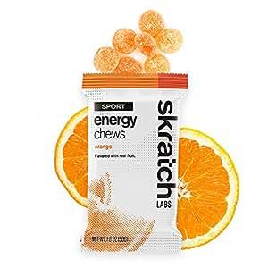 SKRATCH LABS, Sport Energy Chews, Orange, 10 pack box (vegan, dairy free, gluten free, Real Fruit)