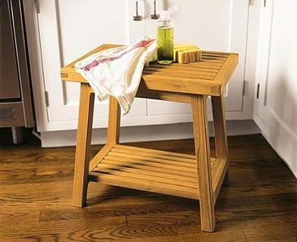 Amazon.com : A Grade Teak Side Table / Bath Stool Shower Bench Patio ...