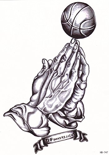 DaLin Large Temporary Tattoos, 4 Sheets (Basketball Prayer)