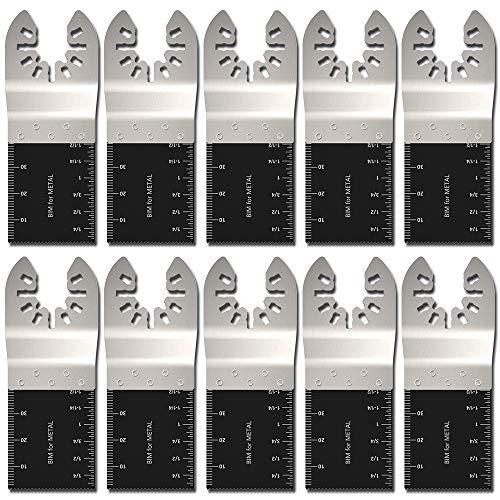 HOTBEST 10 Pack Professional Bi-Metal Oscillating Saw Blades Nail/Metal/Wood Universal Multitool Quick Release Blade Fits Dewalt, Porter Cable,Rockwell,Makita,Black & Decker,Bosch - Bi Metal Metal Hss