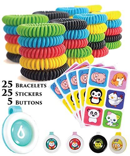 PREPARED4X Mosquito Repellent Bracelet Kit | 25 Repellent Bracelets, 25 Stickers & 5 Pendants | Safe for Infants, Kids, Adults & Pets | Natural Bug Repellent | Spray & Deet Free