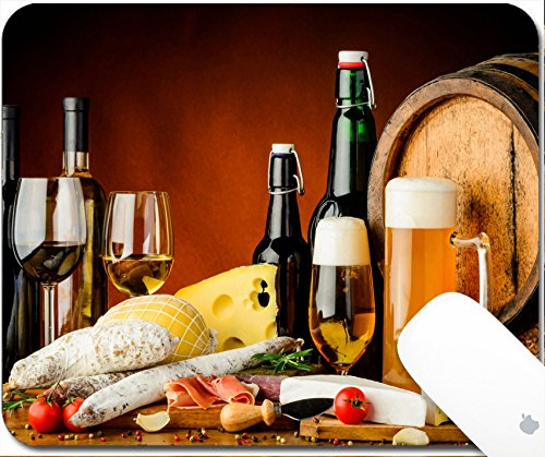 Luxlady Gaming Mousepad 9.25in X 7.25in IMAGE: 27454867 still life with wine beer traditional food cheese and sausages