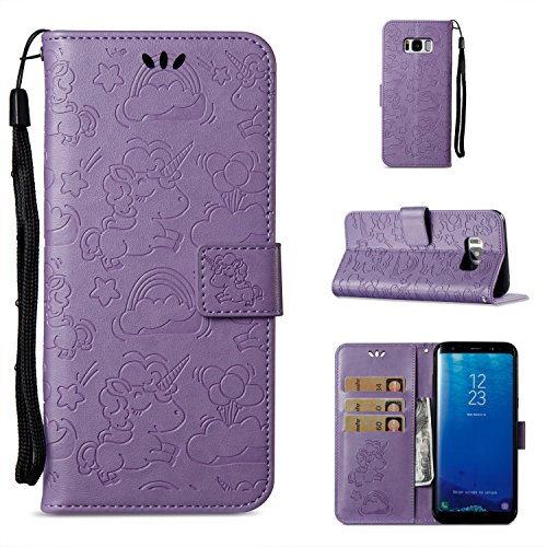Galaxy S8 Plus Wallet Case,Berry PU Leather Cartoon Unicorn 3D Relief Floral Embossed Folio Flip Protective Cover with Credit Card Holder Kickstand Magnetic Closure for Samsung Galaxy S8 Plus (Rubberized Purple Rhinestones)