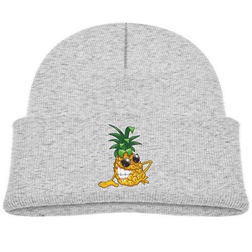 Kids Knitted Beanies Hat Cool Evil Pineapple Winter Hat Knitted Skull Cap for Boys Girls Gray ()