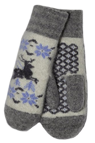 Long Wool Natural (Soft Cute Reindeer Design Mittens Natural Wool by Granny's Knitwear (White on Grey, Small))