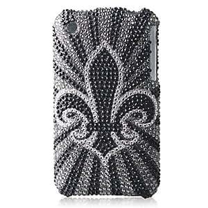 YULIN Grayness Bottom Flower Bling Case PC Hard Case for iPhone 3G/3GS