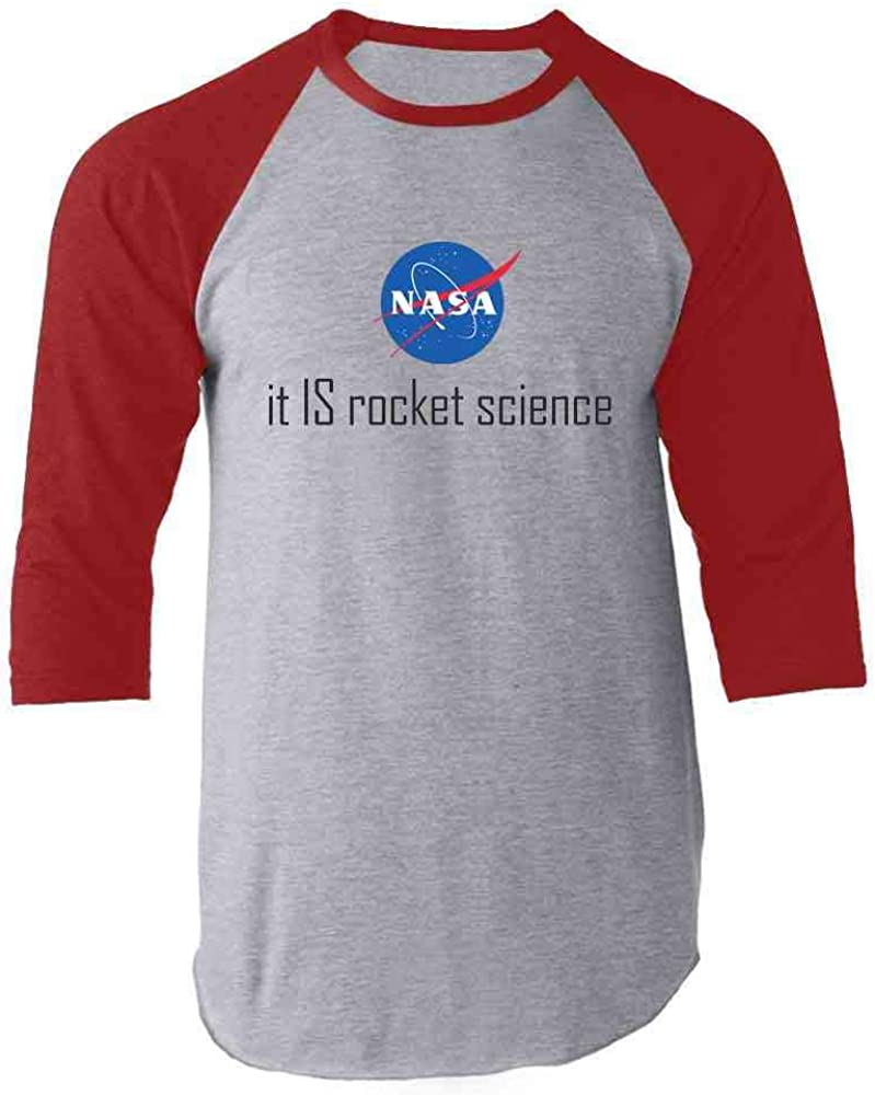 Pop Threads NASA Approved It is Rocket Science Logo Funny Raglan Baseball Tee Shirt