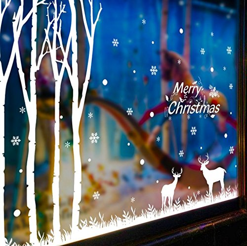 [Csdmakd Christmas forest snowflake moose wall stickers living room bedroom window glass door decoration] (Cave People Costume)