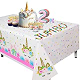 "Extra-Large Unicorn Tablecloth, Set of 2 Unicorn Table Cloth for Birthday Party, 108""x54"" Disposable Table Cover, Ideal Party Supplies for Unicorn Themed Baby Shower and Birthday Decoration for Girls"