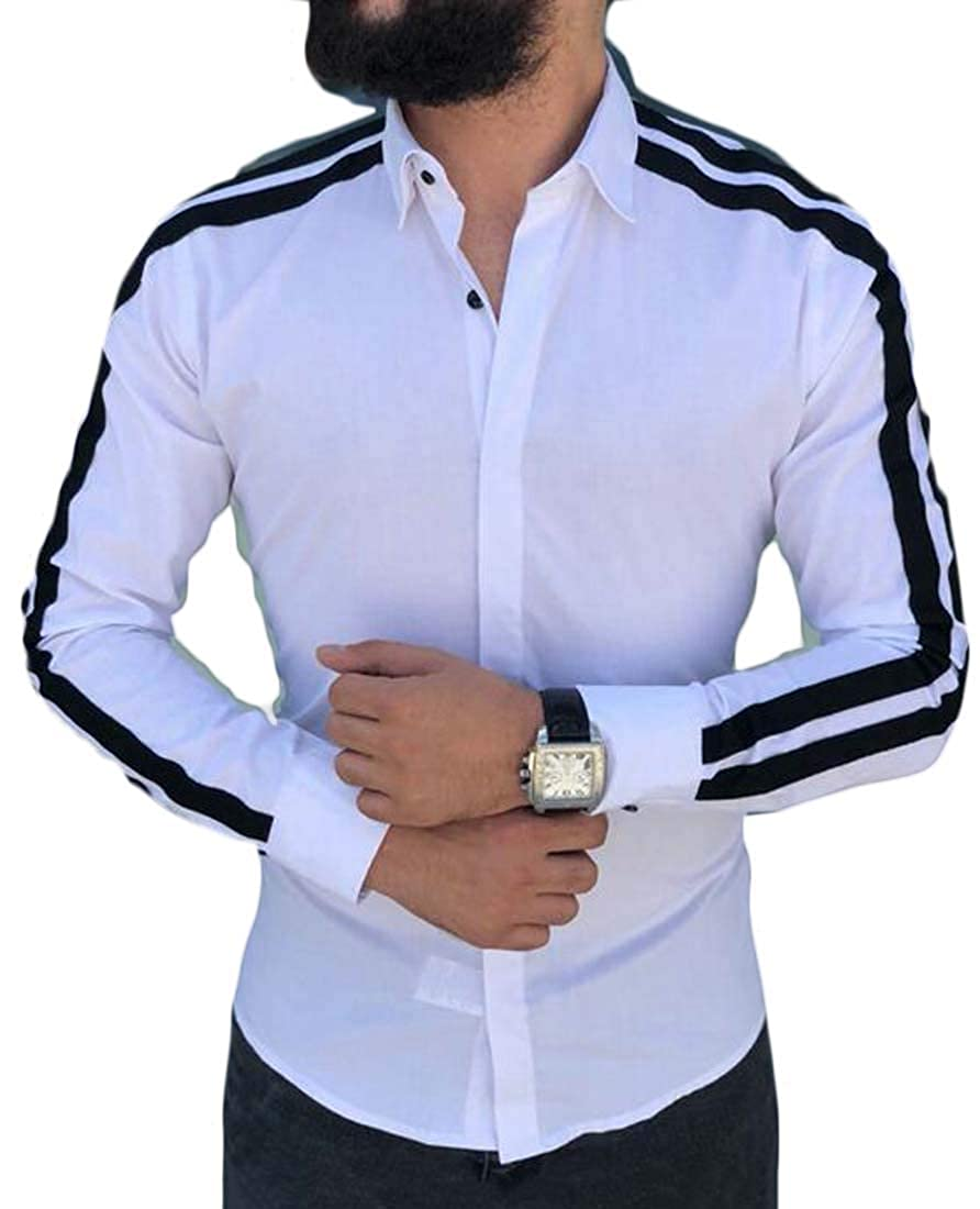 HTOOHTOOH Mens Casual Button Down Shirts Long Sleeve Color Block Shirt