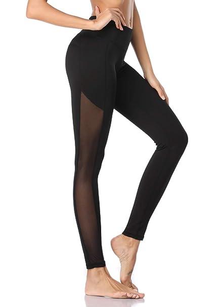 98b4bc01c21bc MissTalk Mesh Yoga Pants for Women Gym Workout Running Leggings with Hidden  Pocket Black