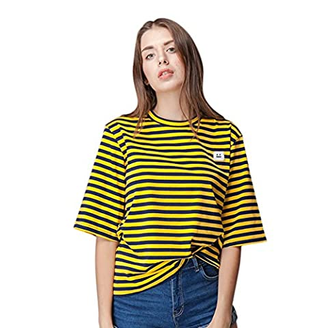 ELINKMALL Women's Round Neck Loose Basic Striped Pattern Short Sleeve Casual T-Shirt (M, Yellow) - Casual Stripe Pattern Shirts
