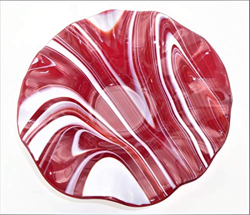 Decorative Bowl of Red and White Swirls with a Ruffled Rim Handcrafted Fused Glass
