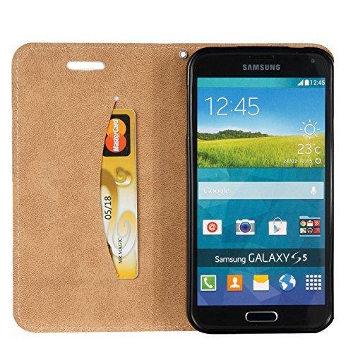 [Flip Case Cover] Funda Samsung S5 I9600 / S5 Neo Carcasa Sunroyal® Ultra Slim PU Leather Cuero Cobertura Bookstyle Wallet Cubierta Con [Función de Soporte] [Cierre Magnético] [Billetera con Tapa para A-03