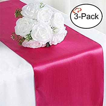 Tiger Chef 3 Pack Fuchsia 12 X 108 Inches Long Satin Table Runner For  Wedding, Table Runners Fit Rectange And Round Table Decorations For  Birthday Parties, ...