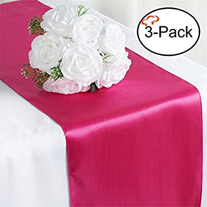 Merveilleux Tiger Chef 3 Pack Fuchsia 12 X 108 Inches Long Satin Table Runner For  Wedding