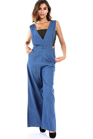 4d8f52256eb Image Unavailable. Image not available for. Color  SALT TREE Women s  Chambray Oversize Crossover Strap Overalls