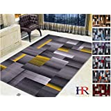 Handcraft Rugs Abstract Geometric Modern Squares Pattern Yellow/Silver/Gray Area Rug (5X7, Yellow)