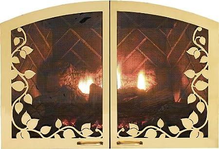 Leaf Arch Fireplace Doors Dvr1lbl Matte Black Amazon