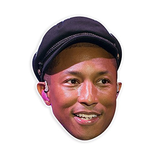 Excited Pharrell Mask - Perfect for Halloween, Masquerade, Parties, Events, Festivals, Concerts - Jumbo Size Waterproof