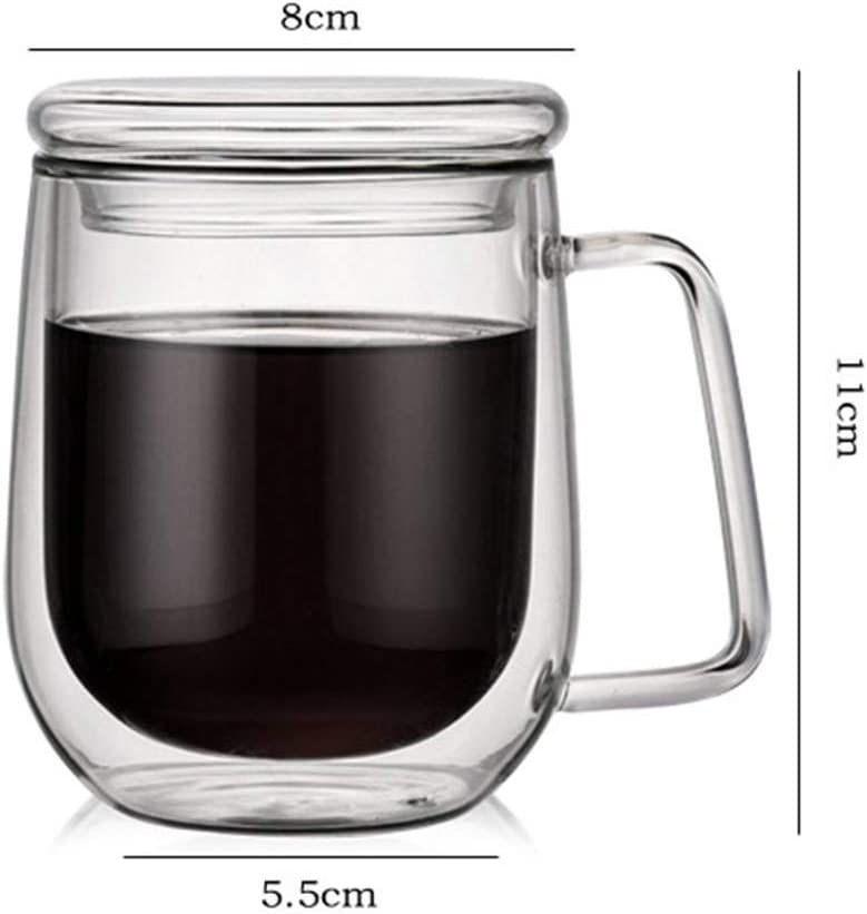YOLEABY Glass with lid 300ml Stylish Heat-Resistant Borosilicate Insulated Double-Walled Glass Coffee Cup with Lid Special
