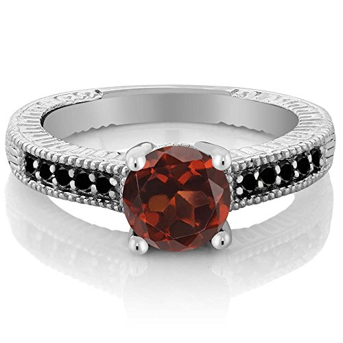 Gem Stone King 1.67 Ct Round Red Garnet Black Diamond 925 Sterling Silver Engagement Ring (Size 7)