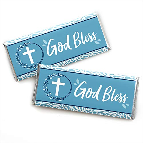 - Blue Elegant Cross - Candy Bar Wrapper Boy Religious Party Favors - Set of 24