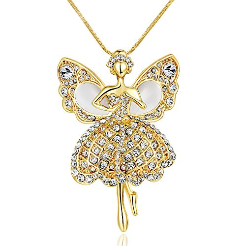 Gold-plated Crystal Ballerina Dancer Drop Wings Angel Pendant Necklace for wedding ()