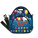 Insulated Lunch Bag,Neoprene Lunch Tote Bags,65th Birthday Decorations,Special Day for Sixty Five Years Old Surprise Balloons Colorful,Multicolor,for Adults and children