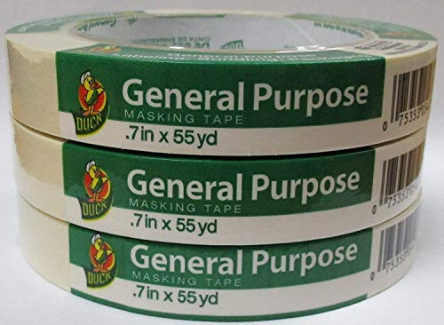 Masking Duck Tape - Duck Brand General Purpose Masking Tape .70 in x 55 yards - 3 Pack