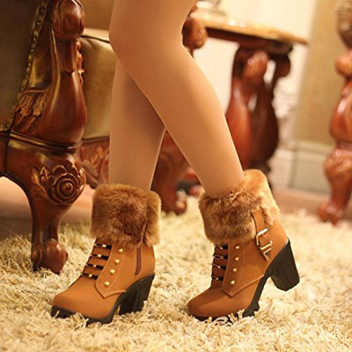 Hatop Women Boots, Womens Winter Plush Snow Boots Martin Square Heels Platform Shoes Brown