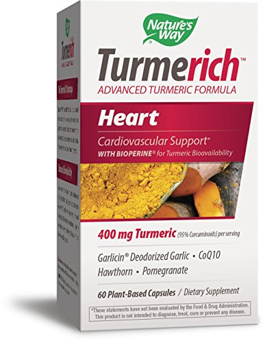 Nature's Way Turmerich Advanced Turmeric Formula for Cardiovascular Support*; 400 mg Turmeric per serving; Garlic, CoQ10, Hawthorn, Pomegranate, Black Pepper Extract; Vegetarian Capsules; 60 Count - Hawthorn Garlic