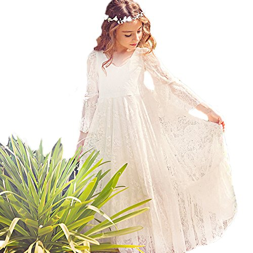 Ivory Flower Girl Lace Dress Long Sleeves Children Baptism Dress First Communion Dress for 2-15T (8-9T) ()