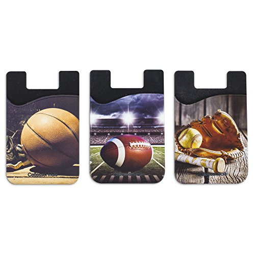 Cellessentials Card Holder for Back of Phone - Sports Themed Silicone Stick on Cell Phone Wallet with Pocket for Credit Card, ID, Business Card - iPhone, Android and Most Smartphones - 3 Pack ()