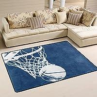 LORVIES Basketball Background Area Rug Carpet Non-Slip Floor Mat Doormats for Living Room Bedroom 72 x 48 inches