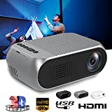Hanbaili HD Wireless LCD Projector, (EU Plug)Home Theater Video Projector Support 1080p HDMI LED Home Cinema Projector for Tablet iPad Smartphone-Outdoor Indoor Movie, Video Games, Entertainment